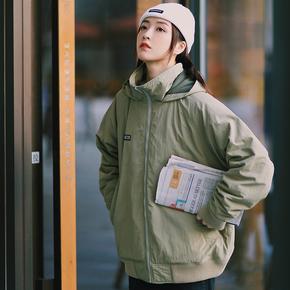 PSO Brand 19AW7 冬季防寒保暖纯色连帽螺纹街头夹克外套情侣男女