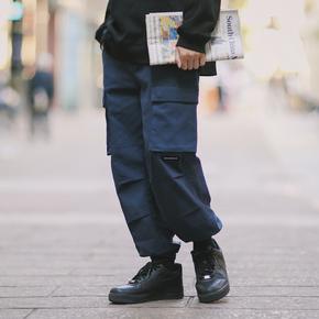 PSO Brand 19AW7 原创港风基础纯色百搭休闲机能双口袋基础束脚裤