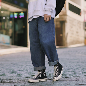 PSO Brand 19AW7 港风原创简约百搭街头情侣款基础水洗直筒牛仔裤