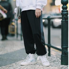 PSO Brand 19AW7 原创港风潮复古透气舒适黑灰解构拼接运动束脚裤