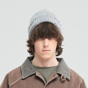CHRROTA 基础款手工水洗撕裂破坏瓜皮帽国潮保暖冷帽毛线帽针织帽