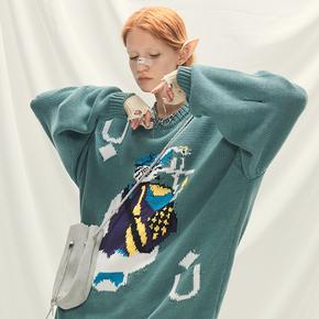 CHRROTA 联名人像主题印花情侣套头衫男女复古国潮嘻哈撞色毛衣