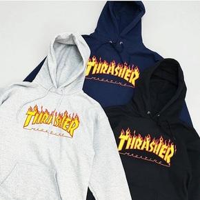 多色现货 Thrasher Flame Hoodie 经典 火焰 加绒卫衣帽衫