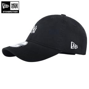 New Era Mlb洋基NY刺绣小Logo弯檐帽棒球帽 情侣款 黑色
