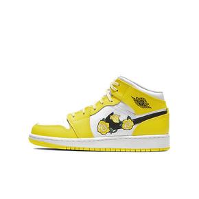 Air Jordan 1 mid AJ1 白黄 花卉 黄玫瑰女神 AV5174-700