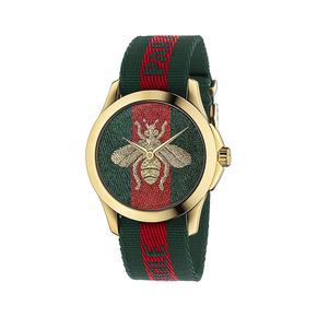 古驰(Gucci)Swiss Le小蜜蜂刺绣系列尼龙表带防水石英女士手表 YA126487