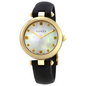 GUCCI 古驰手表气质经典女表不锈钢黄金色女款石英腕表 YA141404