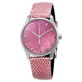 古驰(GUCCI)男女表 贝母表盘满天星轻奢休闲气质皮带男女士手表 YA126586