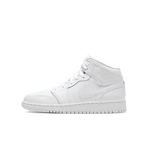 Air Jordan 1 Mid AJ1中帮 纯白全白女子篮球鞋 554725-126