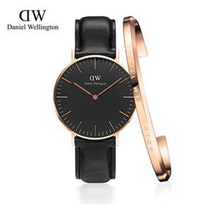 新品丹尼尔惠灵顿黑表手镯套装DW手表