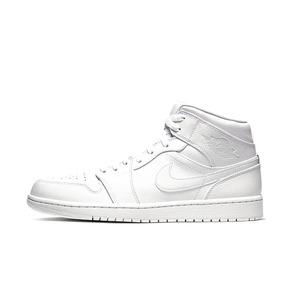 Air Jordan 1 Mid AJ1 纯白 中帮男子篮球鞋 2020款 554724-126