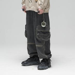 CHRROTA 20SS手工线性刷漆休闲宽松工装束脚裤男国潮牌复古牛仔裤