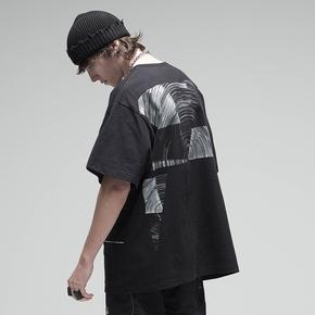 CHRROTA 20SS机能几何抽象印花短袖潮牌宽松嘻哈情侣半袖T恤男女