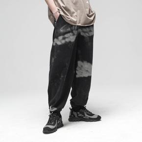 CHRROTA 20SS手工喷漆工装休闲宽松印花束脚裤国潮牌复古裤子男女