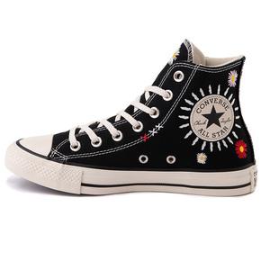 Converse匡威 All Star 小雏菊太阳花刺绣 黑色高帮帆布鞋567993C