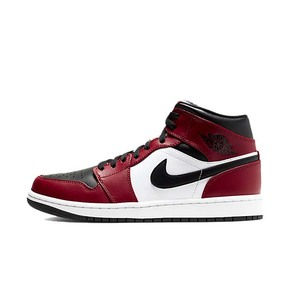 Air Jordan 1 Mid Chicago AJ1小芝加哥黑红脚趾篮球鞋 554724-069