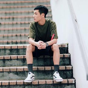 PSO Brand17SS MA1口袋飘带中袖五分短袖T恤