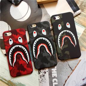 【定制】Bape迷彩鲨鱼夜光磨砂半包手机壳for iPhone6/7/PLUS