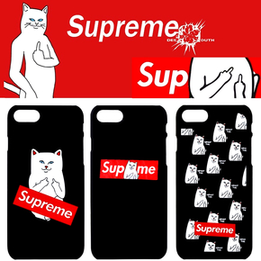 【定制】Supeme X Ripndip中指猫贱猫半包硬壳手机壳for iPhone6/7/PLUS