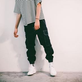 FLAM 原色牛仔工装口袋束脚裤长裤