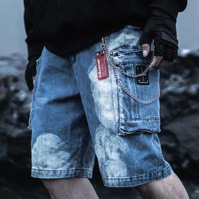 Killwinner 国潮牛仔短裤蓝色