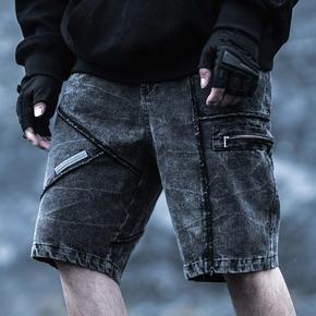 Killwinner 国潮牛仔短裤黑色
