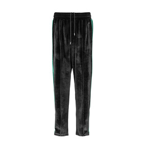 Charlie Luciano潮流裤子2020春夏新款宽松休闲裤显瘦百搭丝绒裤 黑色