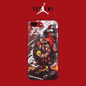 【定制】Supreme X AJ 最新联名插画限量版 磨砂全包边手机壳for iPhone 6/7/s Plus