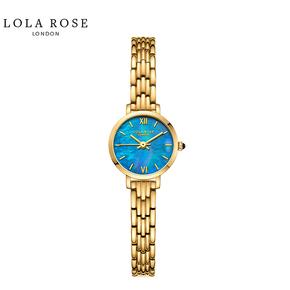 Lola Rose手表女时尚防水石英女士手表蓝宝石表镜蓝贝小金表LR4166-1