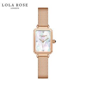 Lola Rose 时尚防水石英女士手表 拼接幻彩白贝小方表 LR4182-1