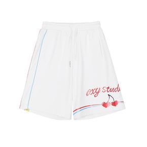 OXY 爱心樱桃红蓝嵌条线短裤情侣款学生五分裤