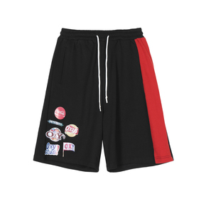 OXY 夏季恶搞LOGO拼色短裤国潮情侣学生五分裤