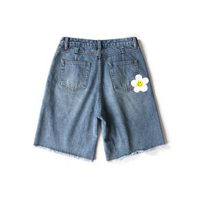 OXY 夏季小花毛边牛仔短裤国潮情侣宽松五分裤