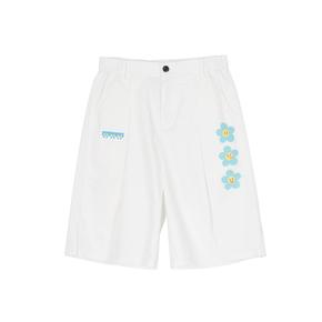 OXY 三色表情工装短裤情侣直筒裤学生五分裤