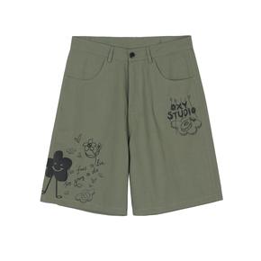 OXY 夏季涂鸦印花休闲工装短裤男女宽松五分裤