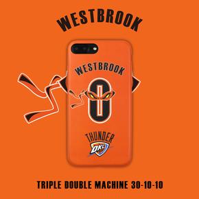 【定制】威少 维斯布鲁克场均三双 NBA纪念款 橙色0号磨砂软壳橙色一体全包边手机壳for iPhone6/7/PLUS