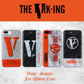 【定制】Vlone nike 藤原浩 大理石纹 橙色边全包带挂绳孔软壳手机壳for iPhone6/7/PLUS