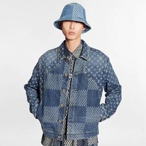 Louis Vuttion x Nigo 联名系列GIANT DAMIER WAVES MONOGRAM 牛仔夹克