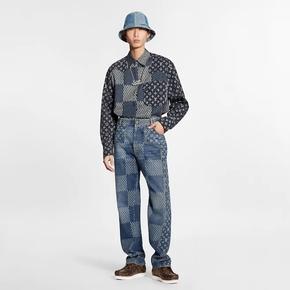 Louis Vuttion x Nigo 联名系列GIANT DAMIER WAVES MONOGRAM 牛仔裤