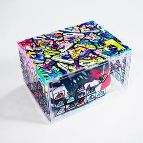 DBRukia x 张呵呵联名 透明涂鸦DIY鞋盒防氧化AJ球鞋收纳盒收纳柜