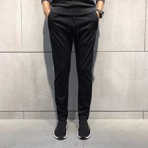 JOESPIRIT 特定出口面料经典竖条纹束脚裤 17618
