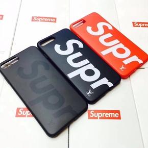 【独家定制】Supreme X LV大字母 带挂绳孔磨砂软壳全包手机壳for iPhone6/7/PLUS