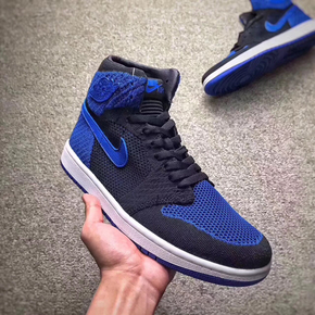 "Air Jordan 1 Retro High Flyknit ""Royal Blue"" 编织黑蓝 919704-006"
