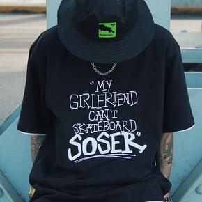 SOSER 我男朋友不会滑板印花主题情侣半袖体恤纯棉宽松短袖T恤男