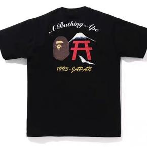 BAPE 2020新款背后富士山猿人头胶印LOGO短袖T恤