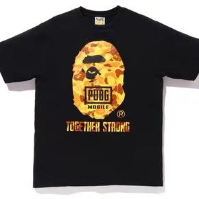 BAPE 吃鸡联名橙迷彩大猿人头T恤短袖