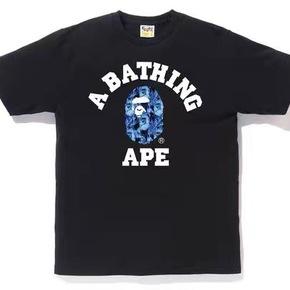 BAPE 火焰迷彩小猿人头T恤短袖