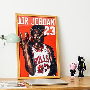 GZKHCOM NBA球星Michael Jordan迈克尔乔丹aj23挂画篮球卧室装饰画墙画