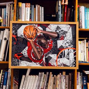 GZKHCOM 钻石切割风格飞人乔丹23灌篮挂画装饰画篮球nba球星海报卧室壁画