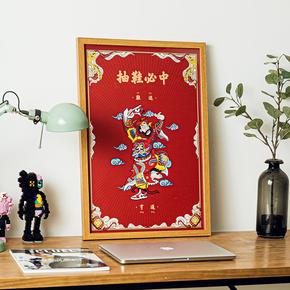 GZKHCOM sneakerhead中国风抽鞋我必中球鞋门神挂画装饰画网红创意艺术画